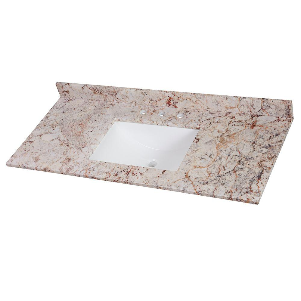 HomeDecoratorsCollection Home Decorators Collection 49 in. W x 22 in. D Stone Effects Single Sink Vanity Top in Rustic Gold