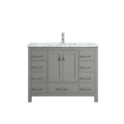 London 48 in. W x 18 in. D x 34 in. H Vanity in Grey with Carrera Marble Top in White with White Basin