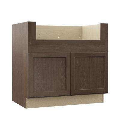 Shaker Assembled 36x34.5x24 in. Farmhouse Apron-Front Sink Base Kitchen Cabinet in Brindle