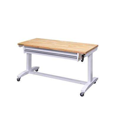 Enjoyable 52 In Adjustable Height Workbench Table With 2 Drawers In White Cjindustries Chair Design For Home Cjindustriesco