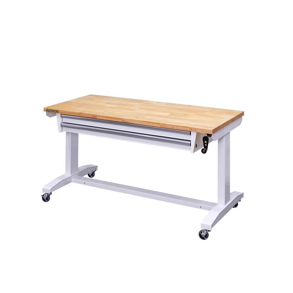 Husky 52 in. Adjustable Height Workbench Table with 2-Drawers in White