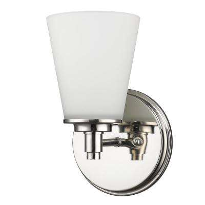 Conti 1-Light Polished Nickel Sconce with Etched Glass Shade