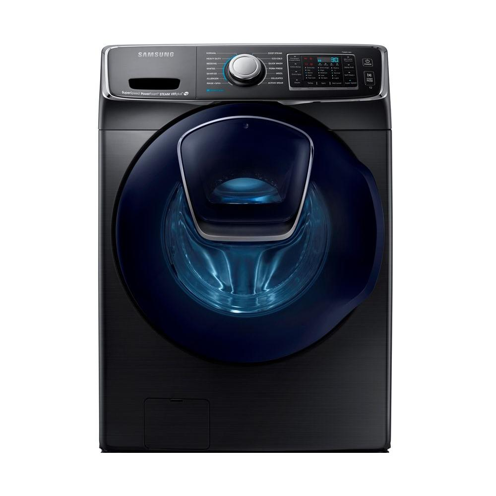 Samsung 5.0 cu. ft. High Efficiency Front Load Washer with Steam and AddWash Door in Black Stainless, ENERGY STAR