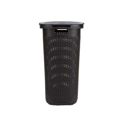 50-Liter Brown Plastic Laundry Basket with Cutout Handles