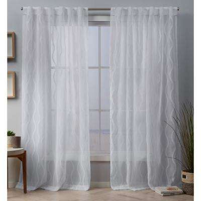 Belfast 54 in. W x 96 in. L Woven Wave Embellished Sheer Hidden Tab Top Curtain Panel in White (2-Panel)