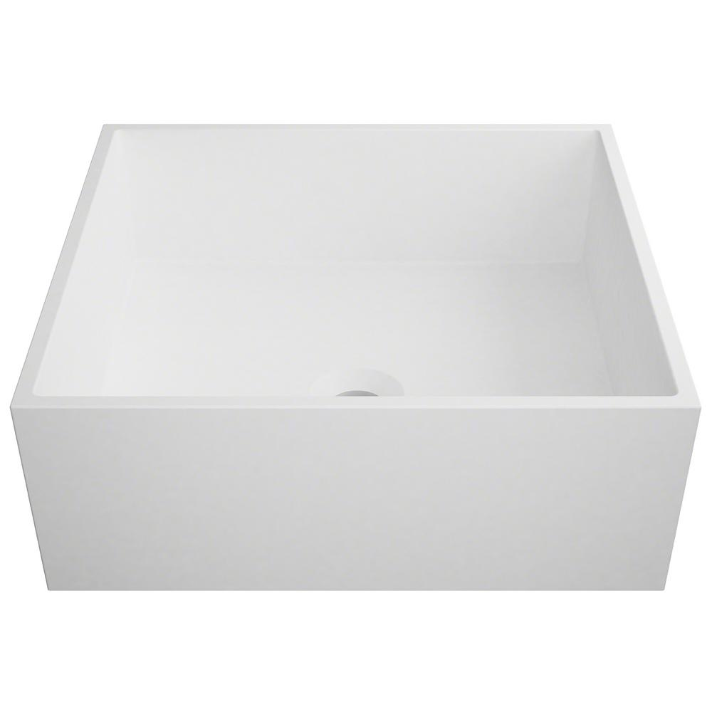 Kraus Natura Square Solid Surface Vessel Sink In White