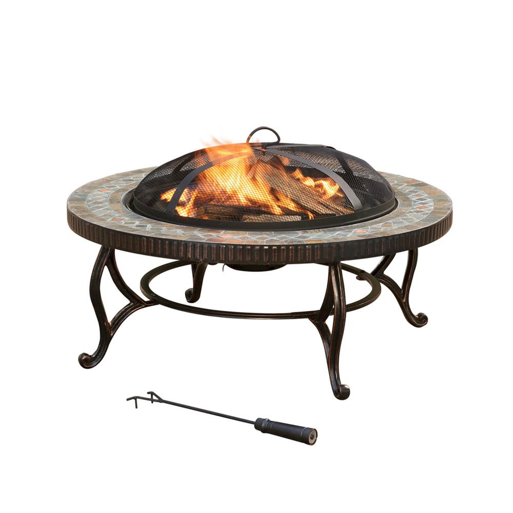 Pleasant Hearth Elizabeth 34 in. Round Slate Fire Pit, Br...