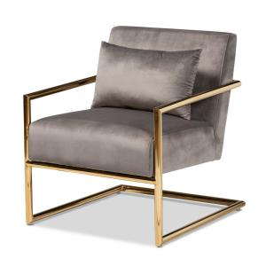 Mira Grey Velvet Lounge Chair