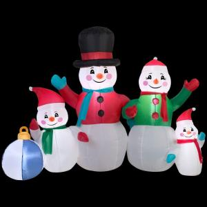 Gemmy 5 ft. Inflatable Snowman Family Scene-13326 - The Home Depot