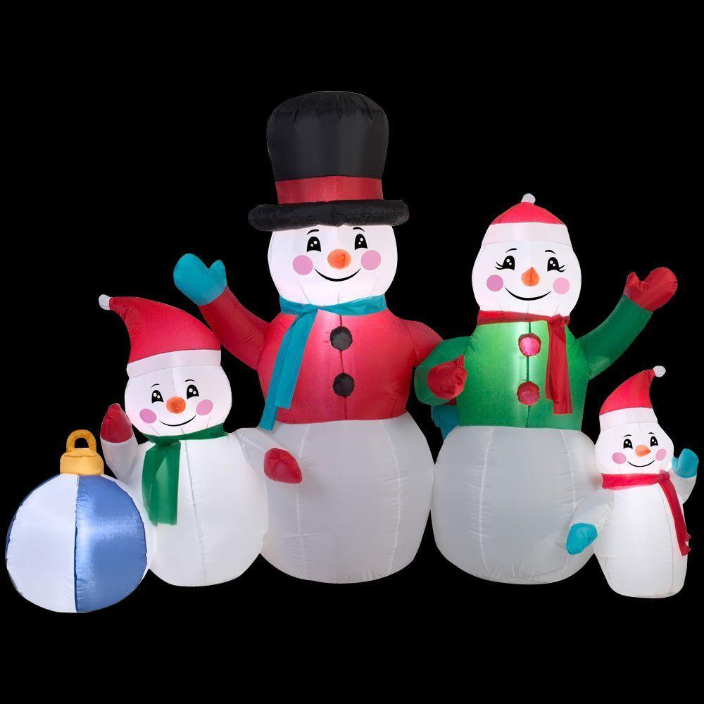 5 ft. Inflatable Snowman Family Scene