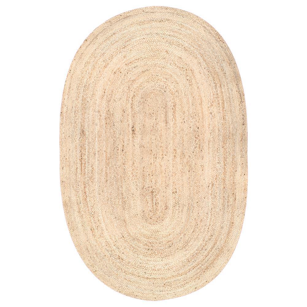 Rigo Chunky Loop Jute Tan 2 ft. x 4 ft. Oval Rug