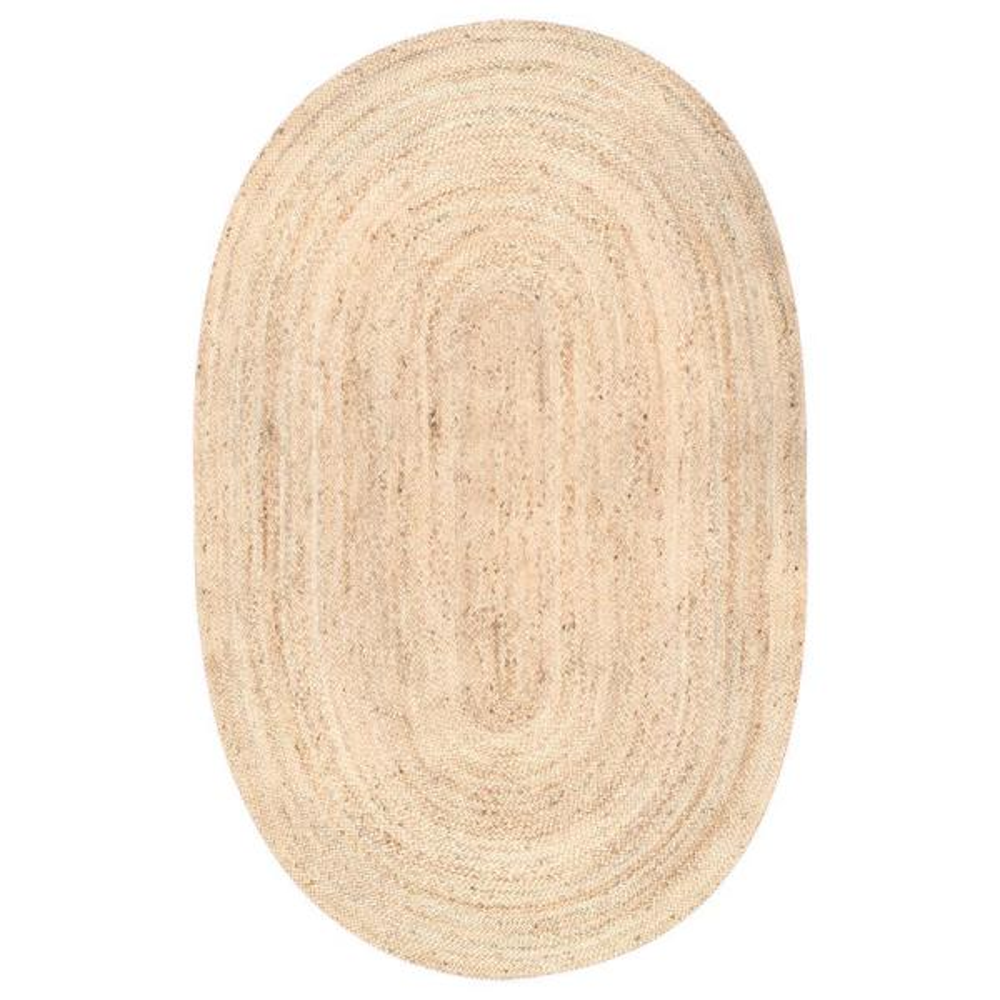 Rigo Chunky Loop Jute Tan 4 ft. x 6 ft. Oval Rug