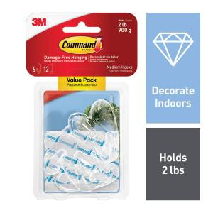 Medium-Clear Hooks with Clear Strips (6-Pack)