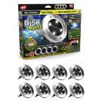 Solar Powered Stainless Steel Outdoor Integrated LED Super Bright In-Ground Path Disk Lights (8 per Box)