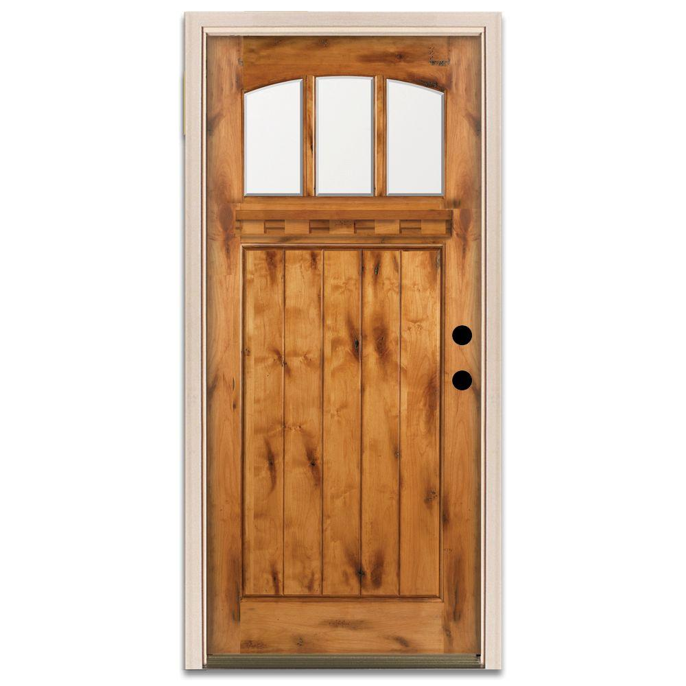 Steves & Sons Craftsman 3 Lite Prefinished Knotty Alder Wood Prehung Front Door-DISCONTINUED