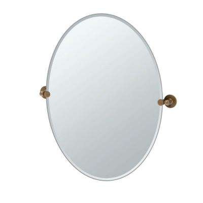 Cafe 32 in. L x 29 in. W Large Oval Wall Mirror in Bronze