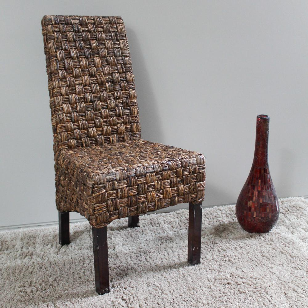 Victor Abaca Basket Weave Dining Chairs With Mahogany Hardwood Frame (Set  Of 2)