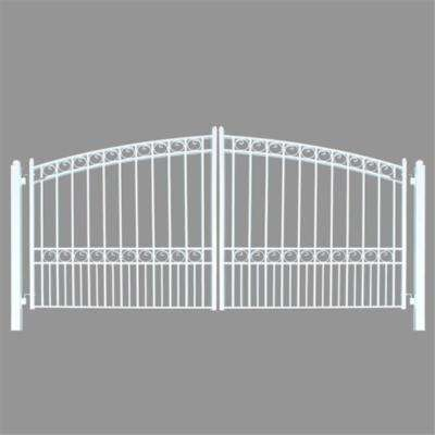 Paris Style 14 ft. x 6 ft. White Steel Dual Driveway Fence Gate