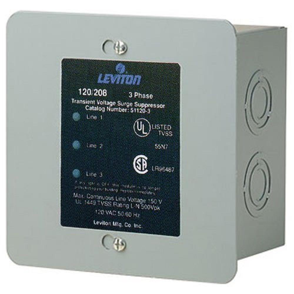 Leviton 120 208 Volt 3 Phase Wye Surge Protector Panel 51120 003 The Home Depot