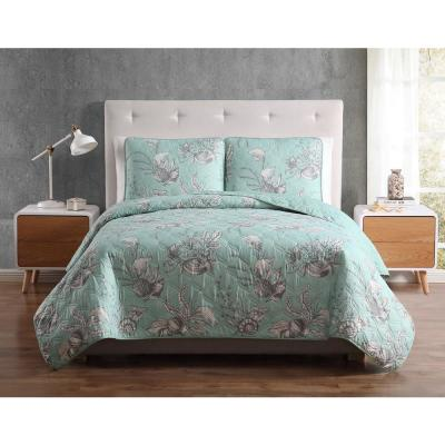 MHF Home Simone Seashell Seafoam King Quilt Set