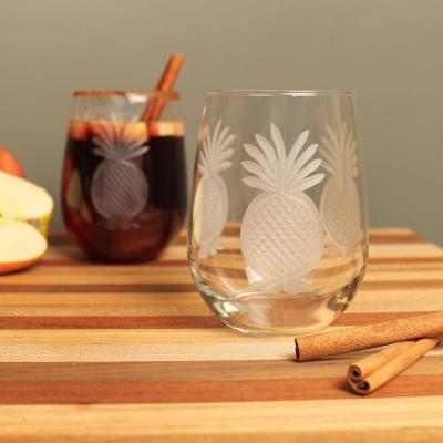 Pineapple 17 oz. Clear Stemless Wine Glass (Set of 4)