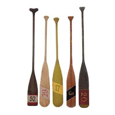 7 in. x 70 in. Multi-Finished Wooden Decorative Nautical Oars (Set of 5)