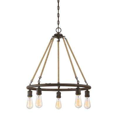 5-Light Rusty Nail with Rope Accents Chandelier