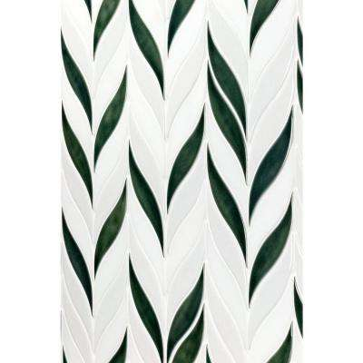 Oracle Sprig Deep Emerald 11-3/4 in. x 10-1/2 in. x 10mm Glazed Ceramic Mosaic Tile