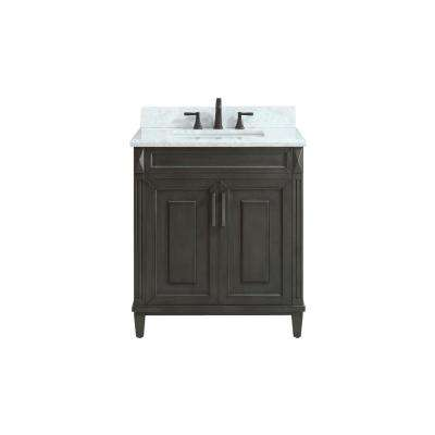 Sterling 31 in. W x 22 in. D x 35 in. H Vanity in Charcoal with Marble Vanity Top in Carrera White with White Basin
