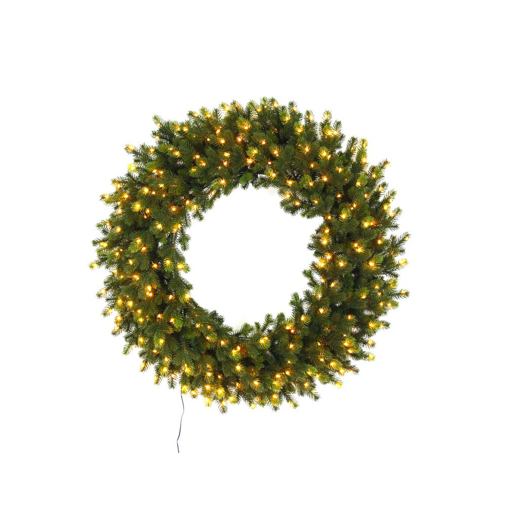 HomeAccentsHoliday Home Accents Holiday 32 in. Pre-Lit LED Elegant Natural Fir Artificial Christmas Wreath with 250 Warm White Micro Dot Lights