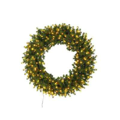 32 in. Pre-Lit LED Elegant Natural Fir Artificial Christmas Wreath with 250 Warm White Micro Dot Lights