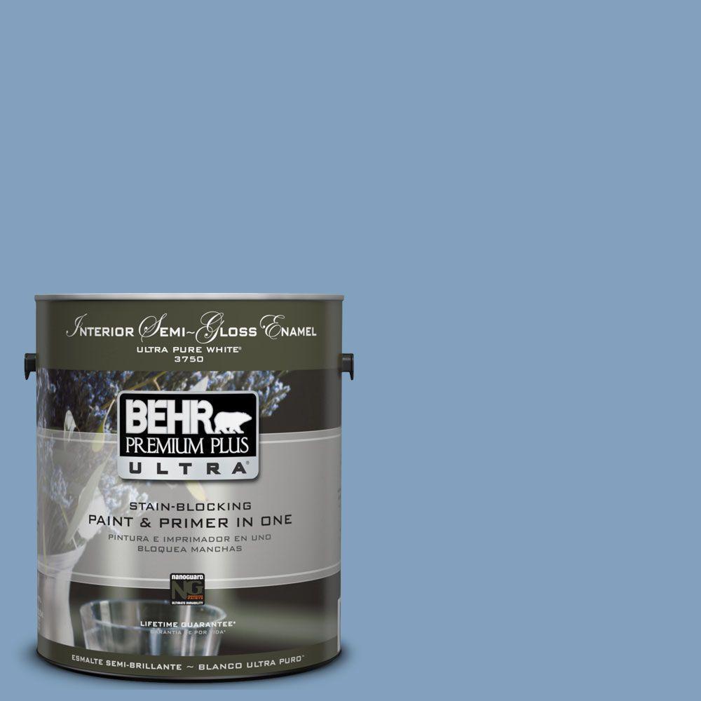 BEHR Premium Plus Ultra 1-gal. #UL230-7 Hawaiian Sky Interior Semi-Gloss Enamel Paint