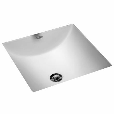 Studio Carre Square Undercounter Bathroom Sink with Less Faucet Deck in White
