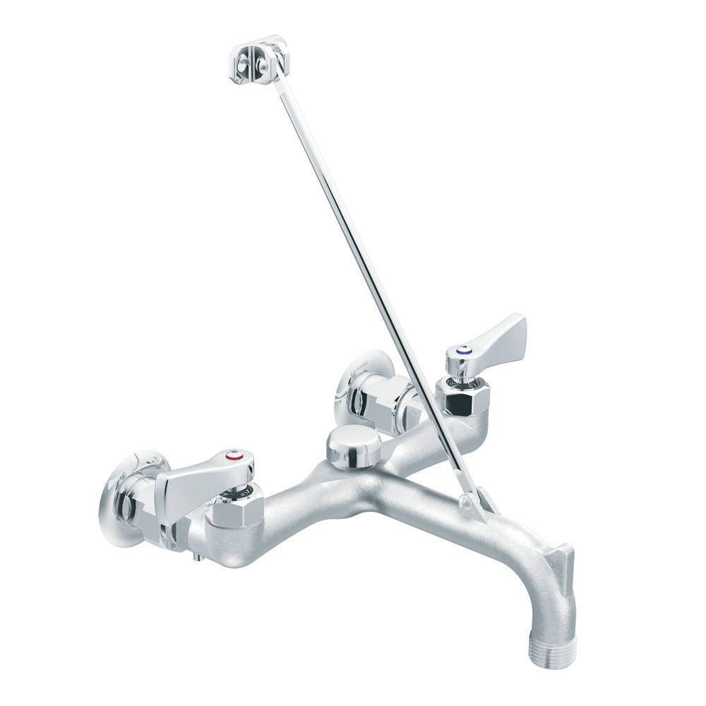 MOEN Commercial 2-Handle Wall Mount Service Faucet in Chrome-8230 ...