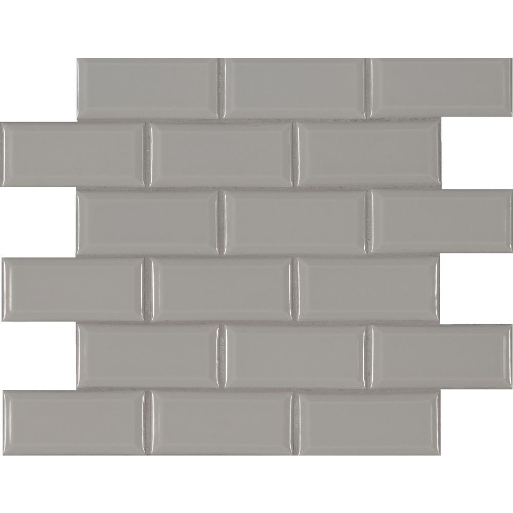 MSI Gray Bevel 11.47 in. x 11.63 in. x 6 mm Glazed Ceramic Mesh-Mounted Mosaic Tile