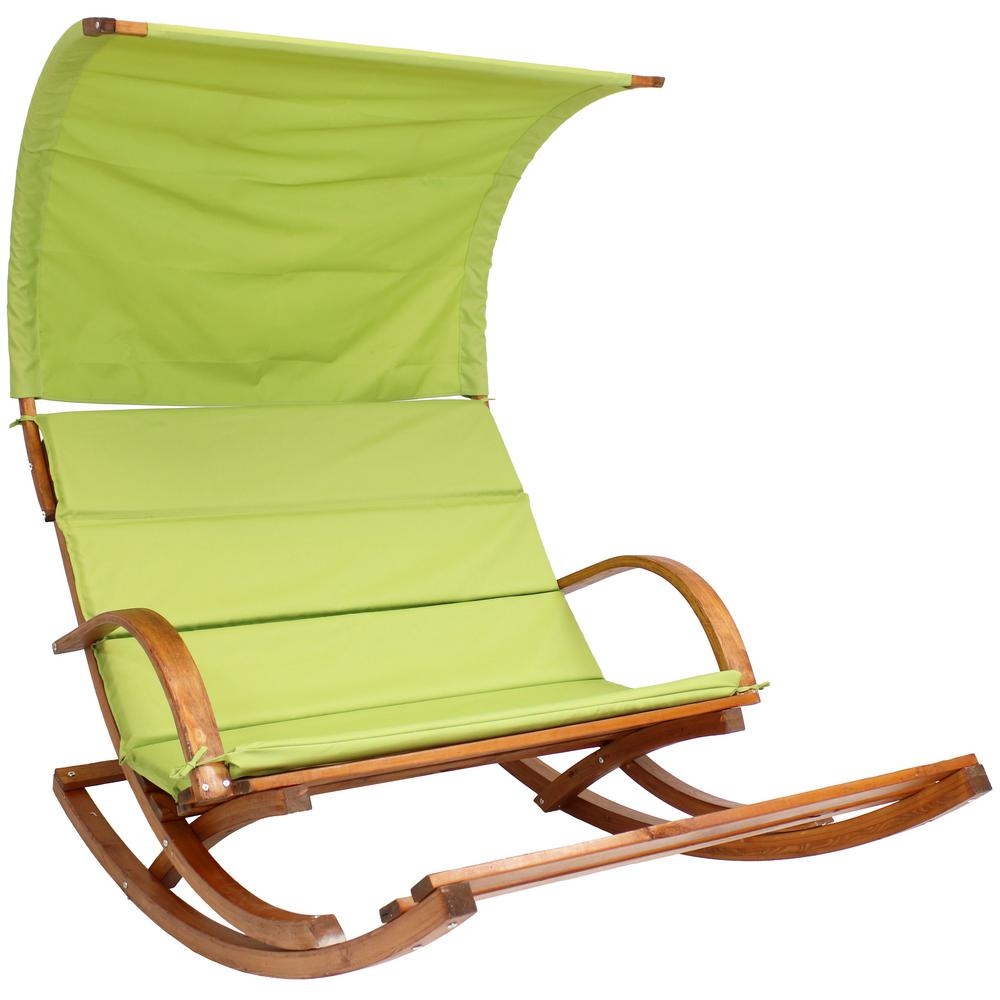 Sunnydaze Decor Outdoor 2 Person Wooden Rocking Chair Cushioned Loveseat with Foot Rest and Canopy in Lime Green