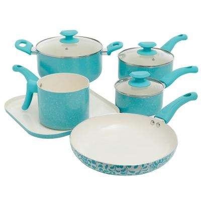 San Jacinto 9-Piece Turquoise Speckle Cookware Set