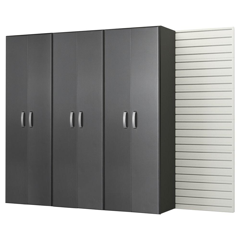 Modular Wall Mounted Garage Cabinet Storage Set in White/Graphite Carbon Fiber