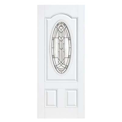 36 in. x 80 in. Chatham 3/4 Oval-Lite Right-Hand Outswing Primed Steel Prehung Front Door