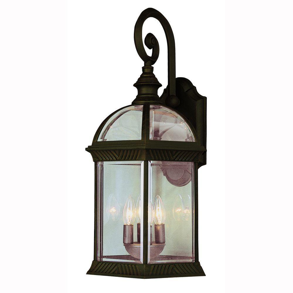 Atrium 3-Light Outdoor Black Coach Lantern with Clear Glass