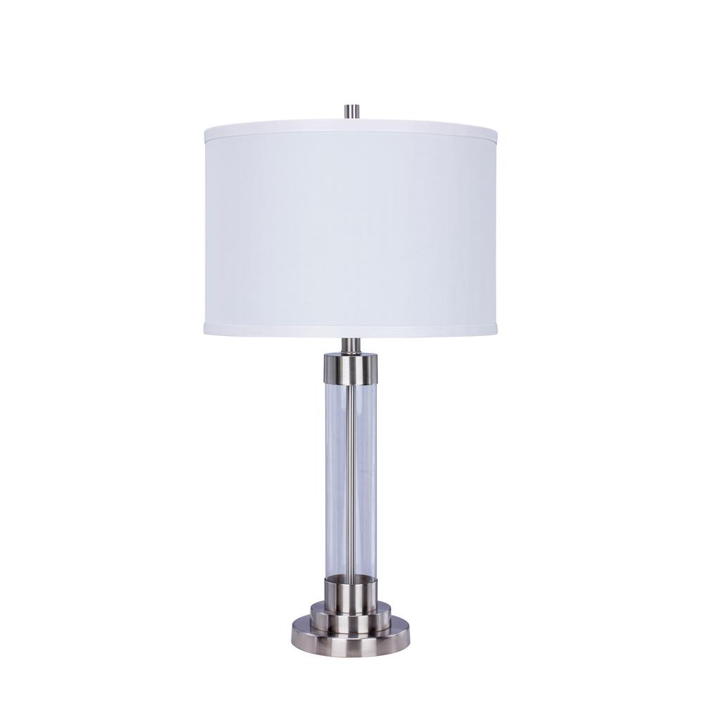 28 in. Brushed Steel Metal and Clear Glass Table Lamp