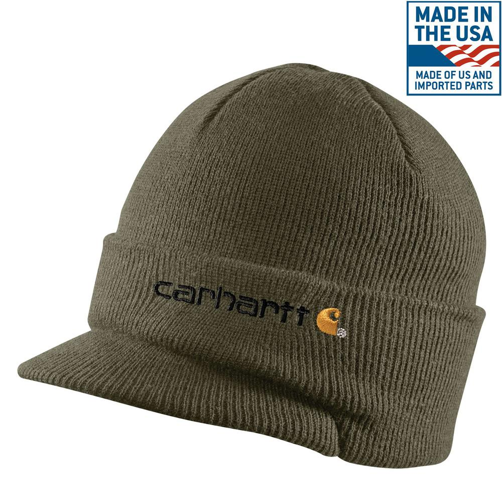 Carhartt Men s OFA Army Green Acrylic Knit Hat with Visor-A164-ARG ... 9d00a32ac49b