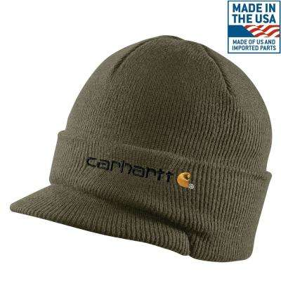 Men's OFA Army Green Acrylic Knit Hat with Visor