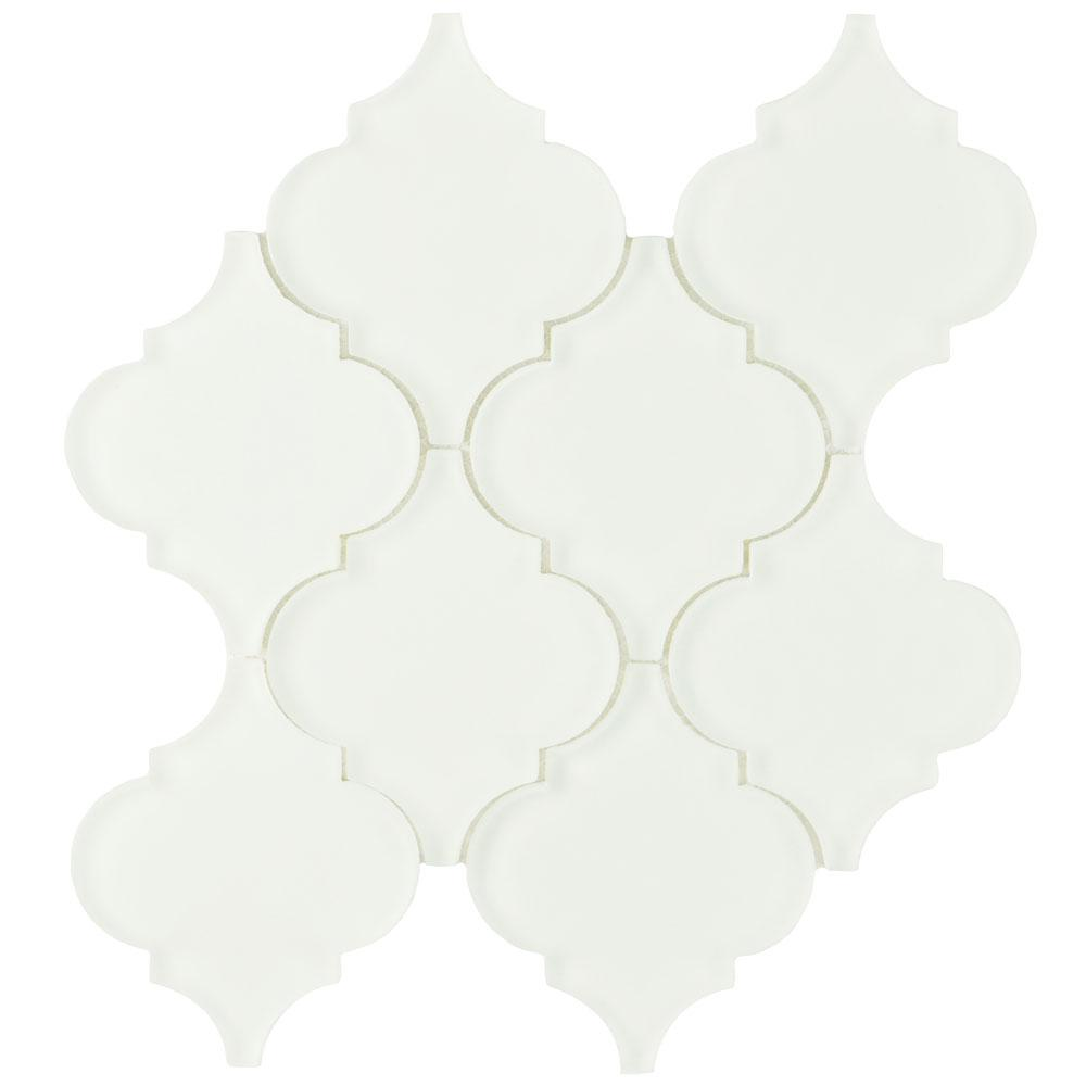 Merola Tile Lantern Frosted Ice White 8 in. x 8-5/8 in. x 8 mm Glass Mosaic Tile