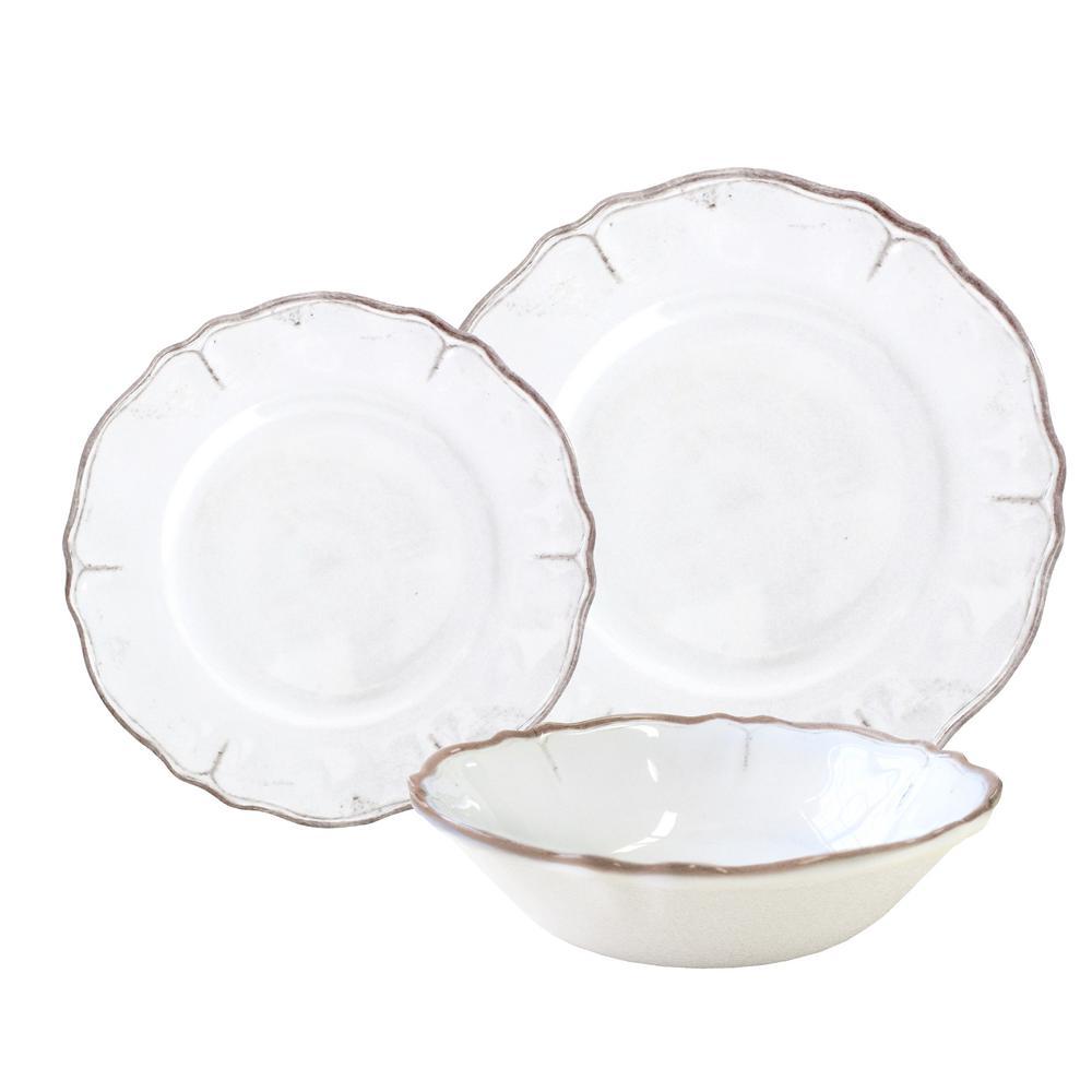 12-Piece Rustica Antique White Dinnerware Set
