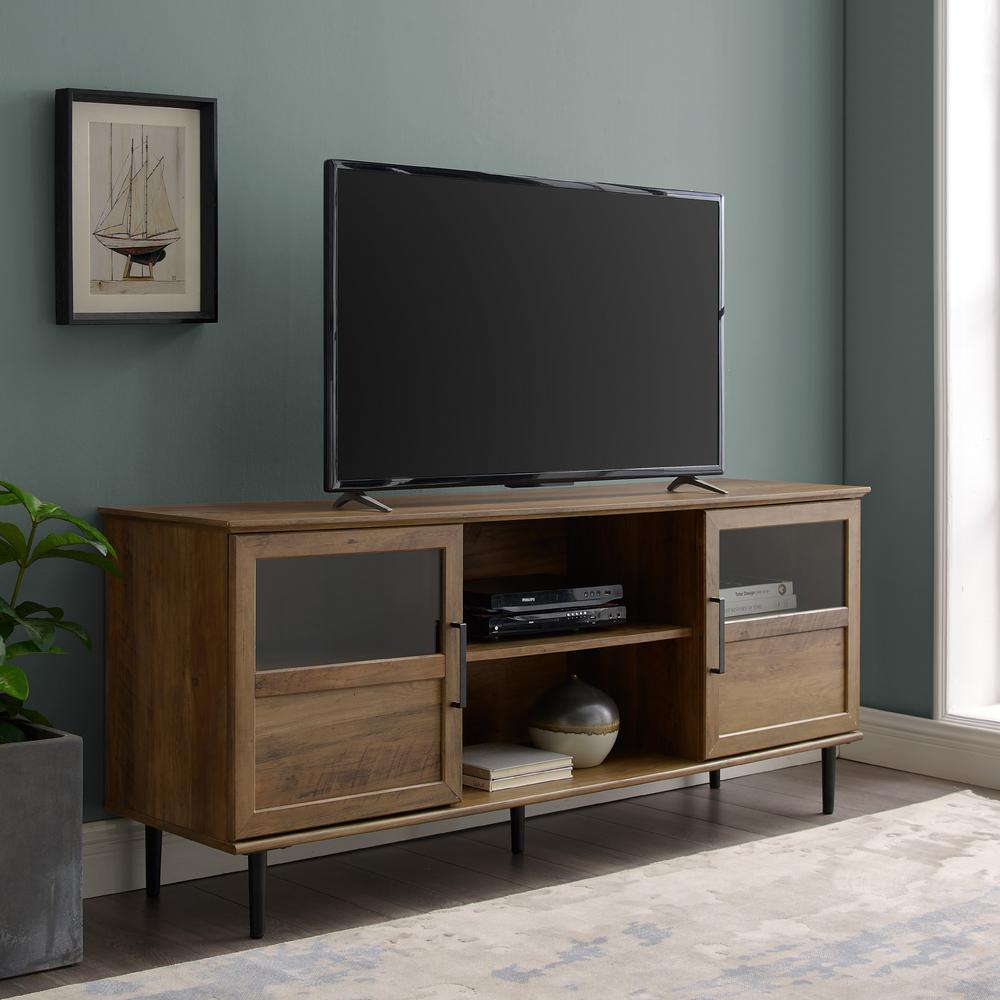 58 in. Reclaimed Barnwood Glass and Wood Split Panel Door TV Console