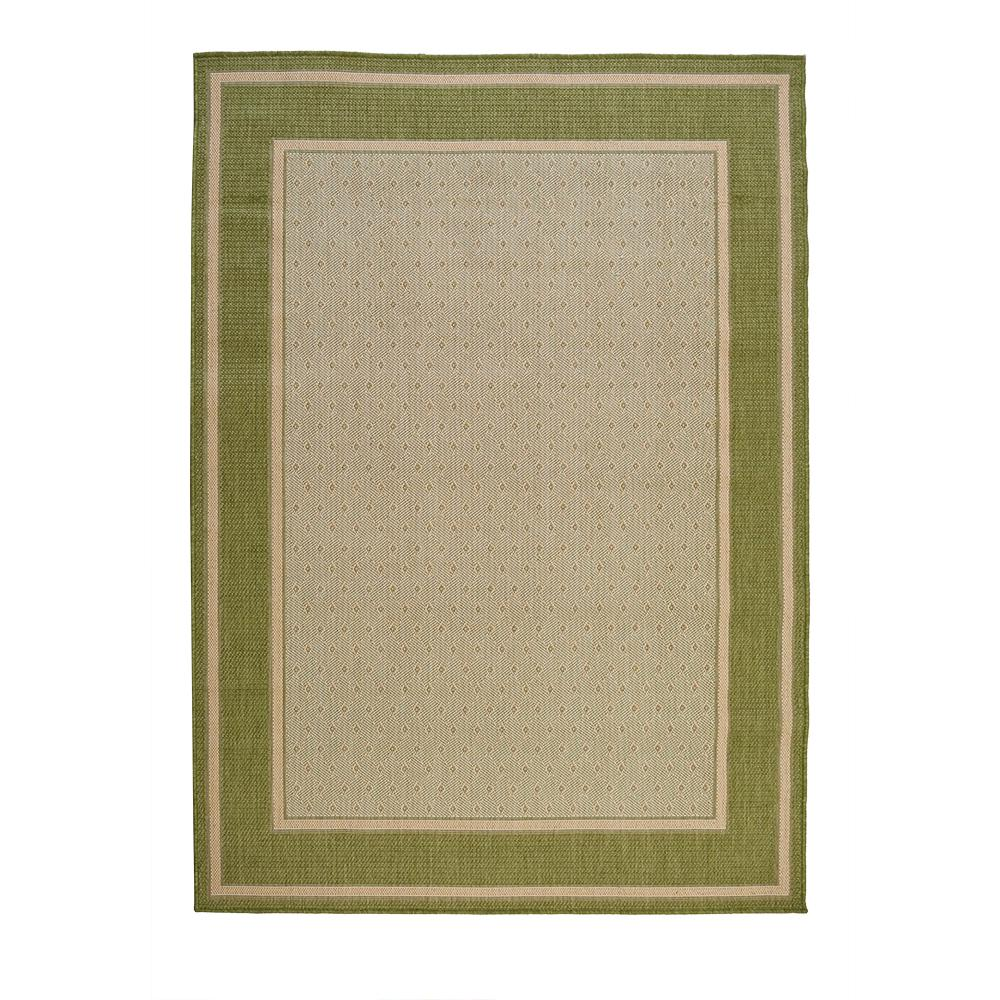 Hampton bay border tan green 5 ft 3 in x 7 ft 4 in for Indoor outdoor carpet green