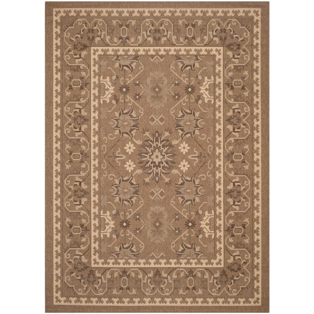 Courtyard Brown/Cream 8 ft. x 11 ft. Indoor/Outdoor Area Rug