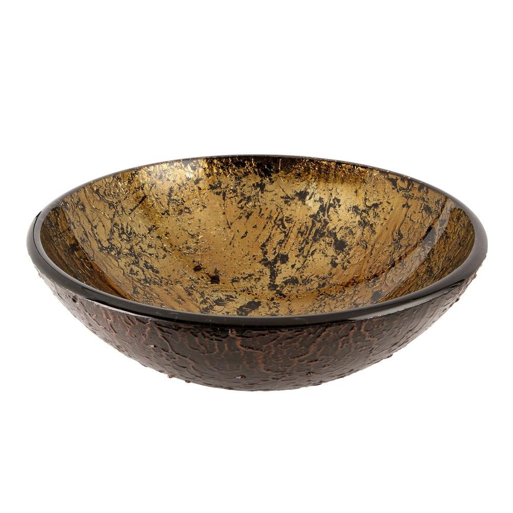 Glass Vessel Sink in Amber and Gold