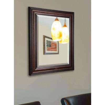 34.5 in. x 34.5 in. American Walnut Rounded Beveled Wall Mirror